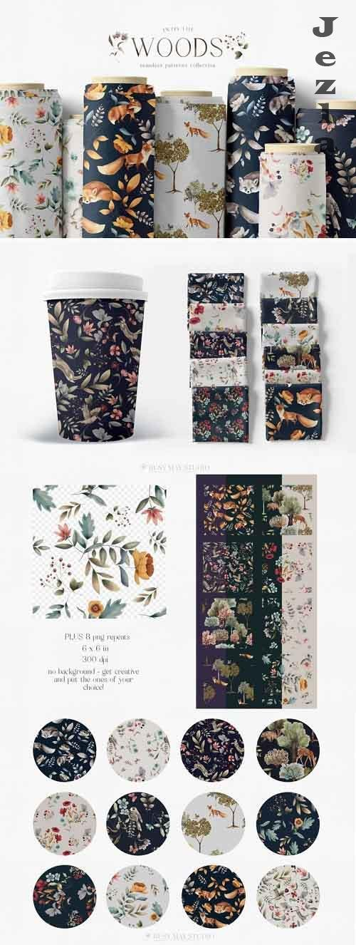 Woodland Scene Seamless Patterns JPEG Unique Repeats PNG - 1208794