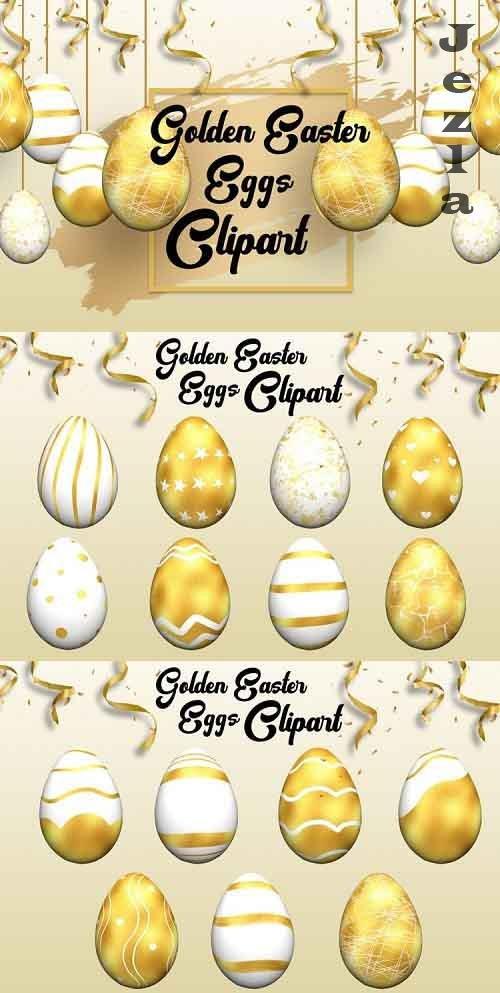 Golden Easter Eggs Clipart - 1208300
