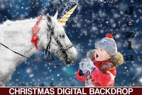 Christmas unicorn backdrop & Christmas overlay - 1132908