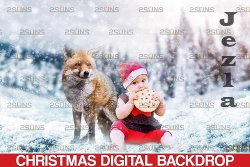Christmas digital backdrop & Christmas overlay, Red fox - 1132916