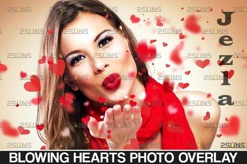 Valentine's photo overlays, PHSP, blowing heart, kiss - 1132964