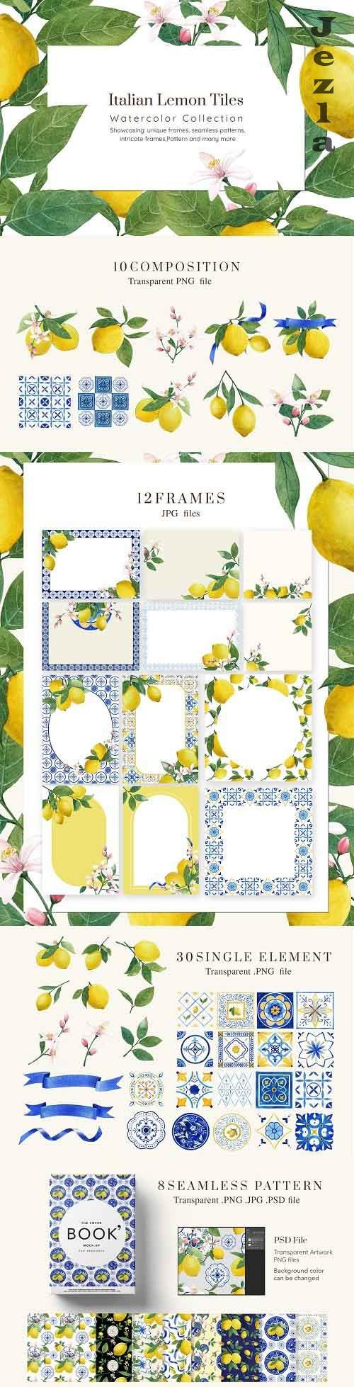 Italian Lemon tile Watercolor - 5890339