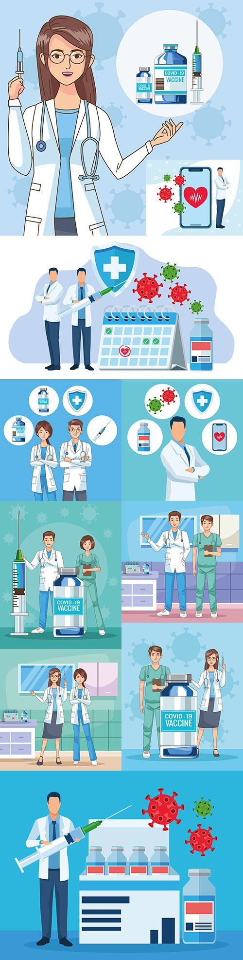 Doctors characters with vaccine illustration scene in hospital