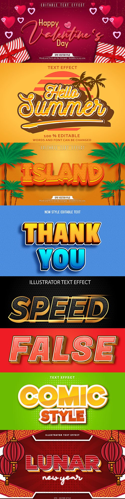 Editable font and 3d effect text design collection illustration 11