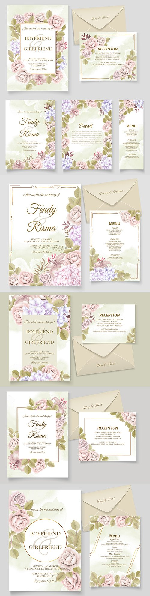Elegant drawing wedding invitation floral design