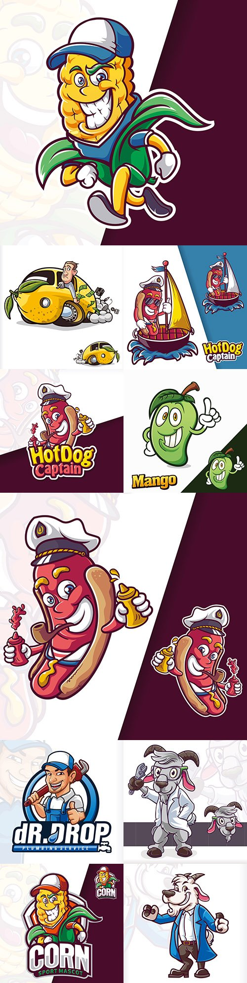 Mascot emblem and brand name logos design 3