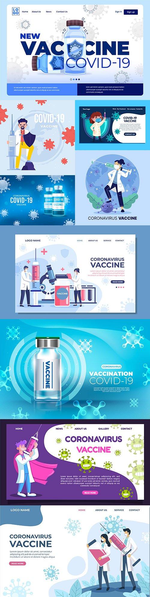 Coronavirus vaccine design illustration landing page