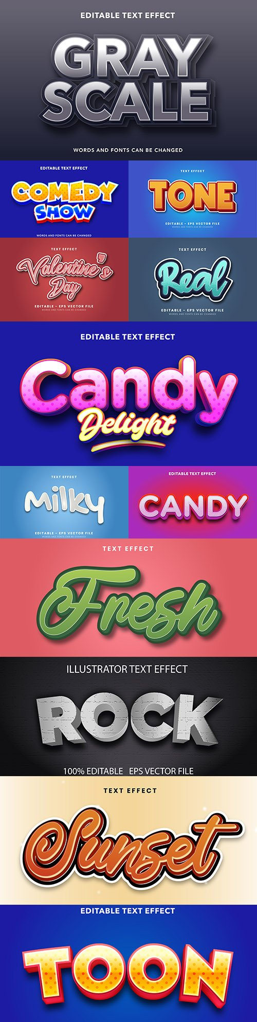 Editable font and 3d effect text design collection illustration 12