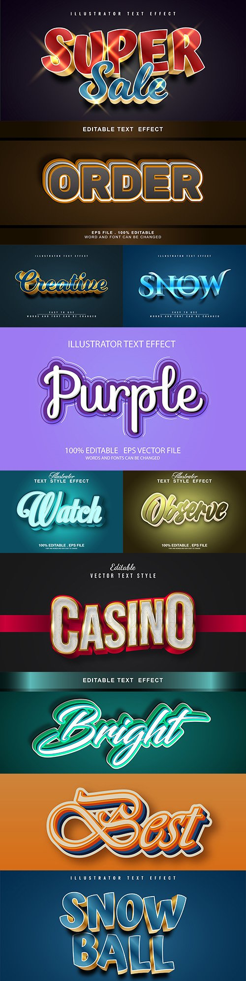 Editable font and 3d effect text design collection illustration 13