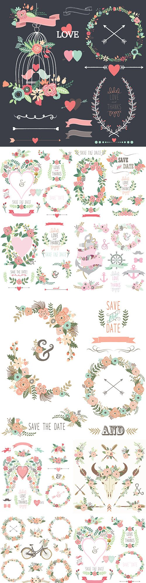 Vintage floral composition and old floral wreath and elements