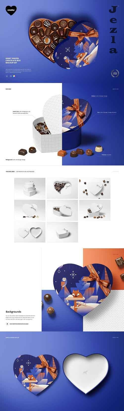 CreativeMarket - Heart Shaped Chocolate Box Mockup 5851006