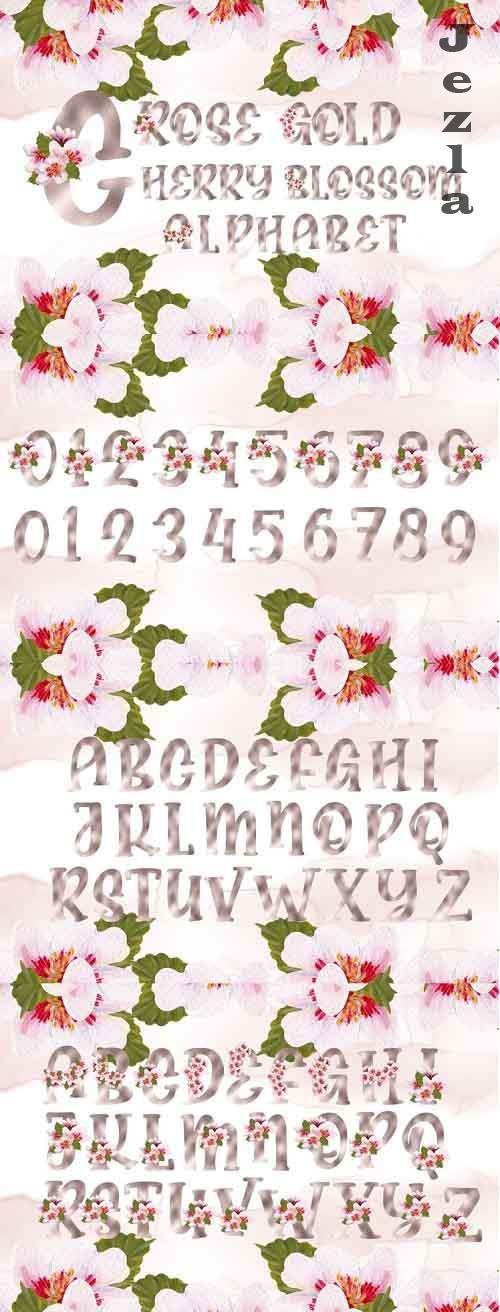 Rose Gold Cherry Blossom Alphabet - 1211631