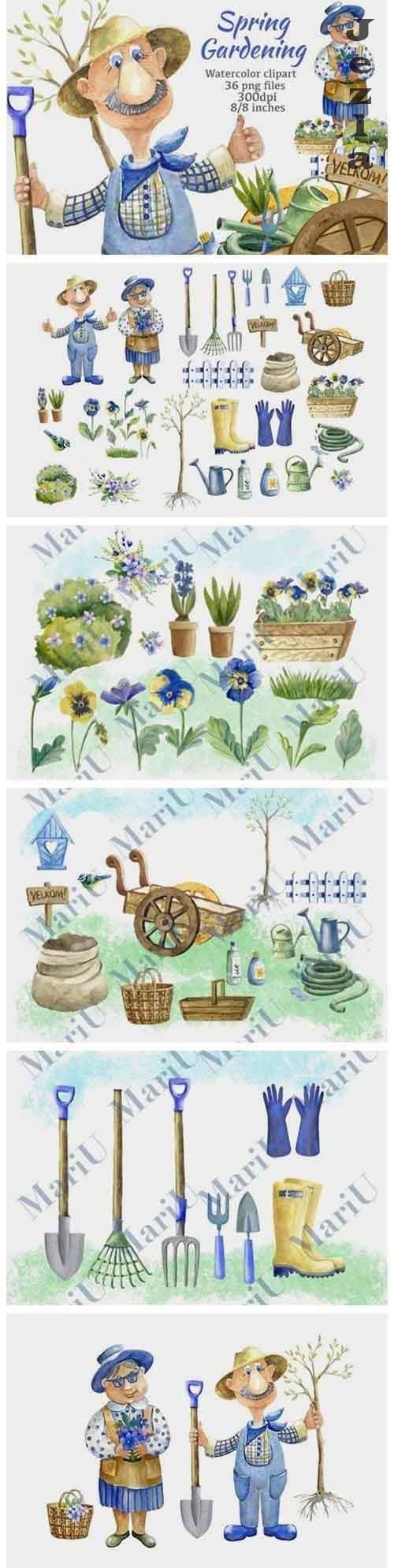 Garden clipart.Spring Gardening Clipart. Gardener - 1131069