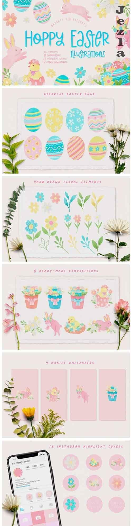 Hoppy Easter Spring Bunnies Illustrations Set - 1212116