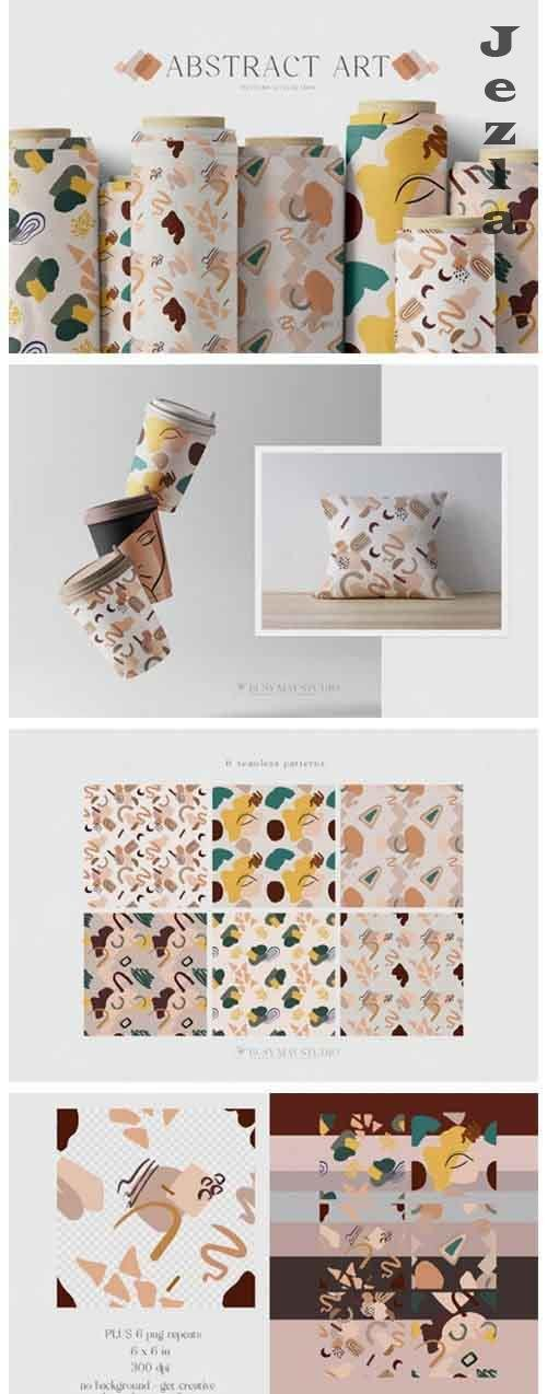 Abstract Seamless Patterns Organic Shapes Lines Paper Pack - 1214815