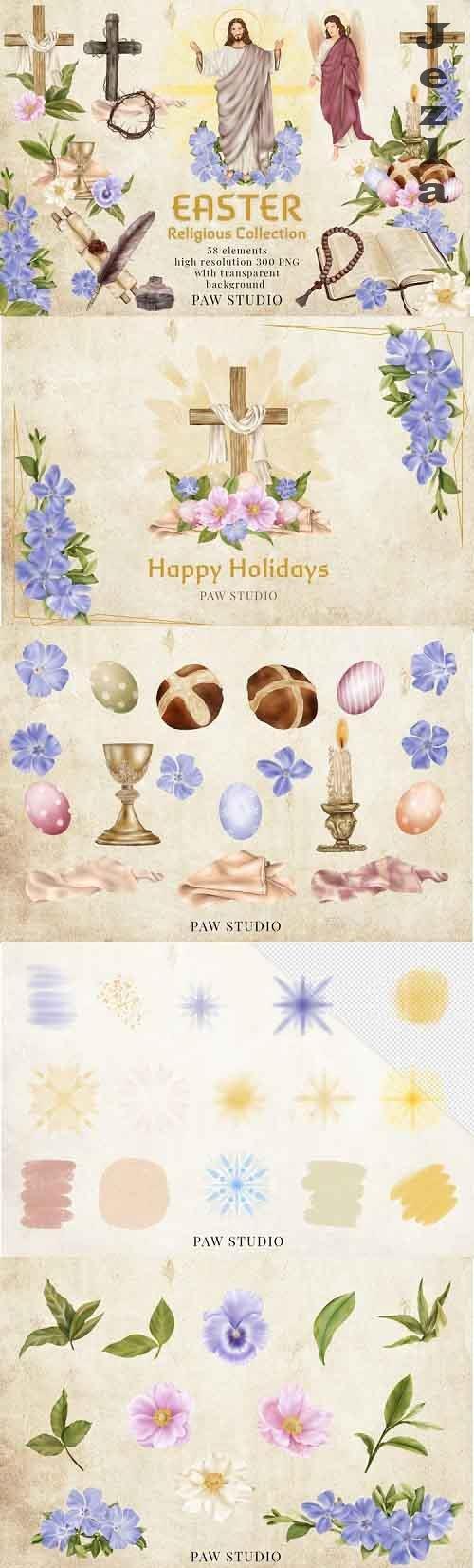 Religious Easter Clipart Jesus Risen Cross Spring Flowers - 1216066