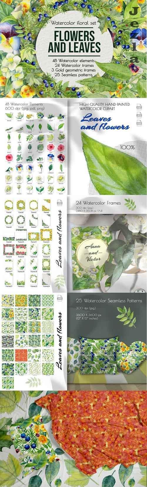 Watercolor clip art. Violet, primrose, juniper, tree leaves - 874419