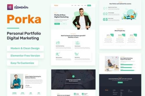 ThemeForest - Porka v1.0.0 - Digital Marketing Personal Portfolio Elementor Template Kit - 30543747