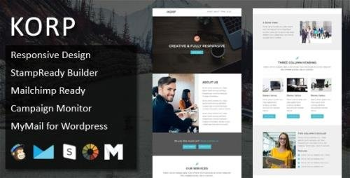 ThemeForest - KORP v1.0 - Multipurpose Responsive Email Template with Online StampReady & Mailchimp Builders (Update: 9 October 18) - 18059953