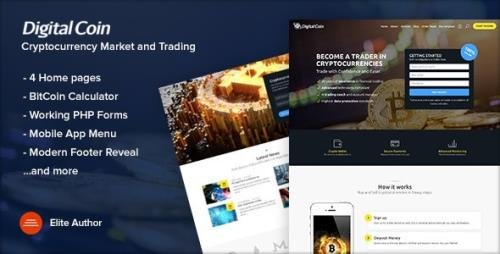ThemeForest - Digital Coin v1.1 - Cryptocurrency Marketing and Trading Site Template - 21223039