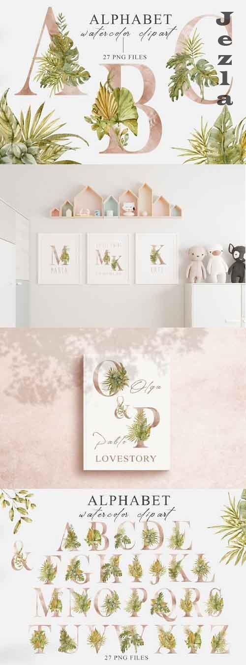 Watercolor floral Alphabet clipart. Tropical letters clipart - 1218728
