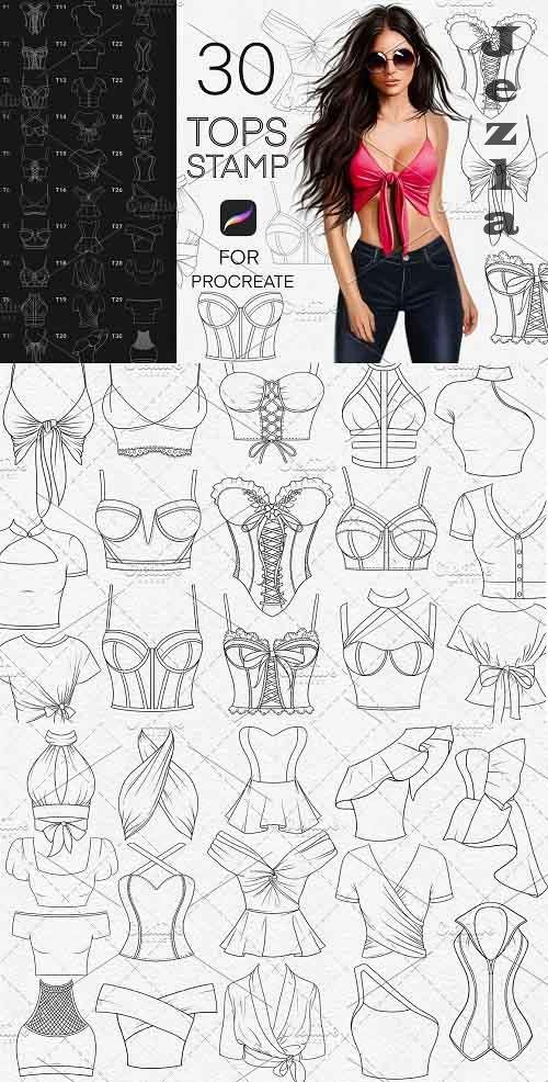 CreativeMarket - Tops fashion stamp brushes Procreate 5833653