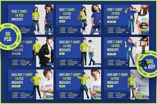 CreativeMarket - Kids T-Shirt PSD Mockups Bundle 5451287