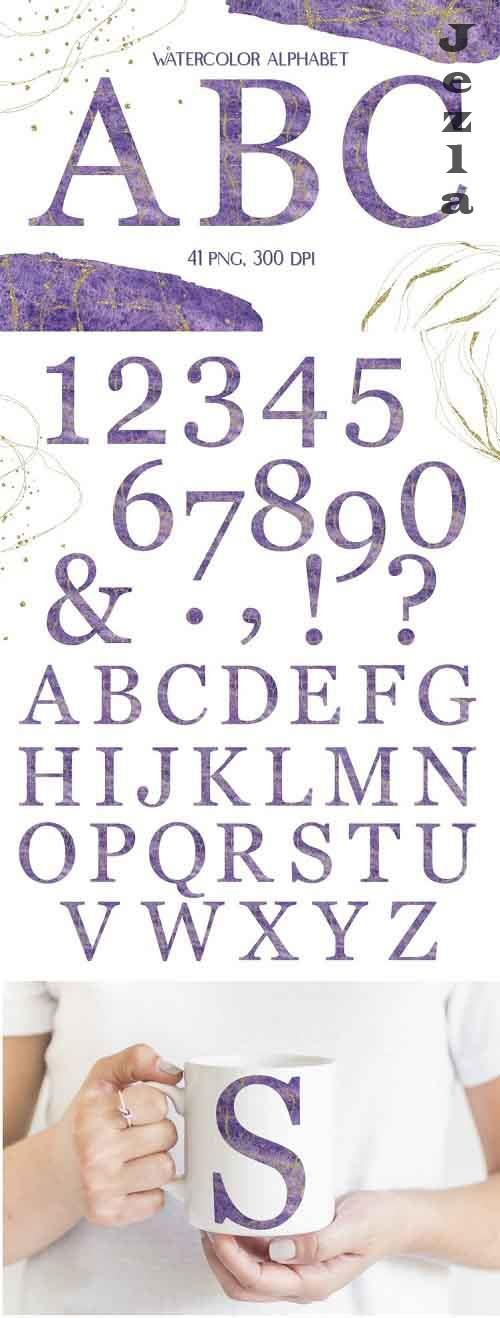 Watercolor Purple Alphabet with Gold Glitter Clipart - 1221880