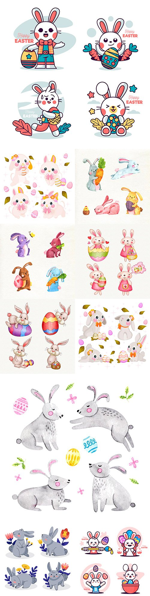 Easter rabbit collection of watercolor and flat illustrations