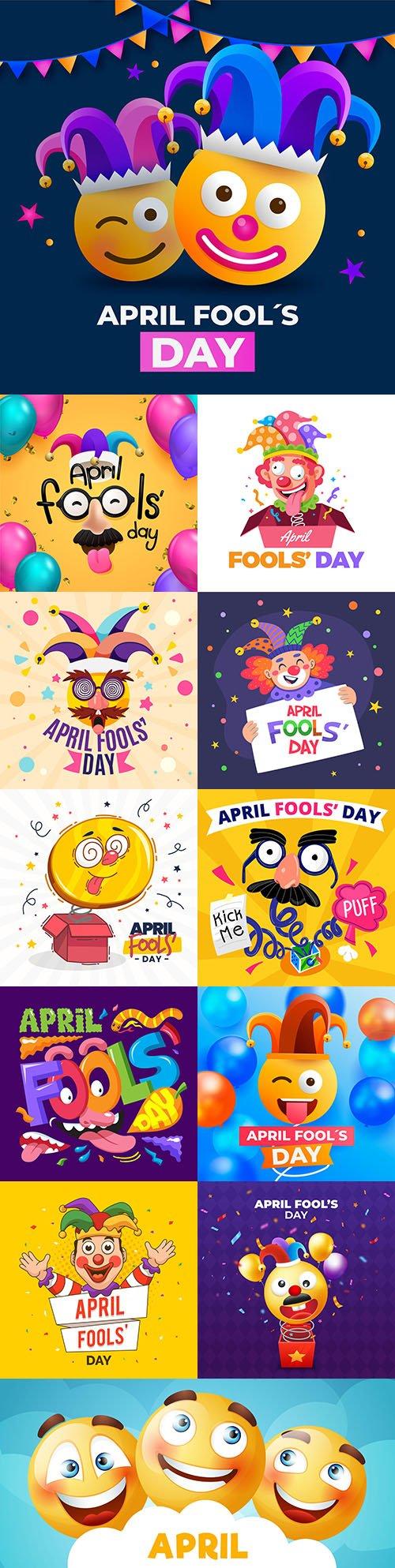 Fools day and April 1 illustration flat design