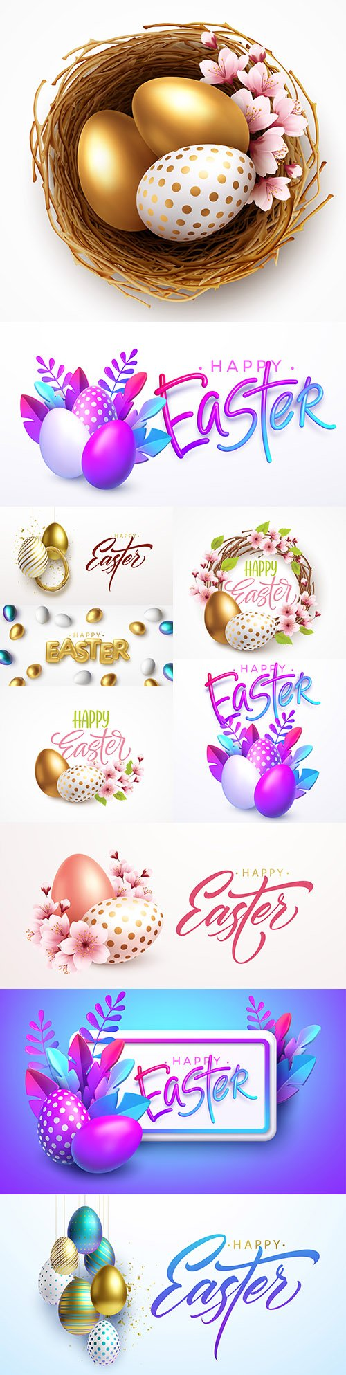 Happy Easter background with realistic eggs and spring flowers