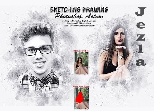 CreativeMarket - Sketching Drawing Photoshop Action 5737073