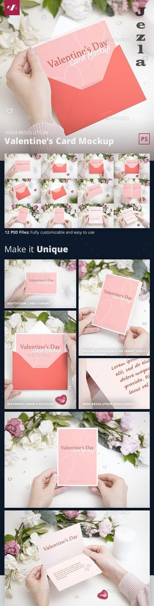 GraphicRiver - Valentines Day Card Mockup 30393433
