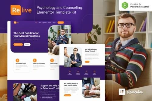 ThemeForest - Relive v1.0.0 - Psychology & Counseling Elementor Template Kit - 30636007