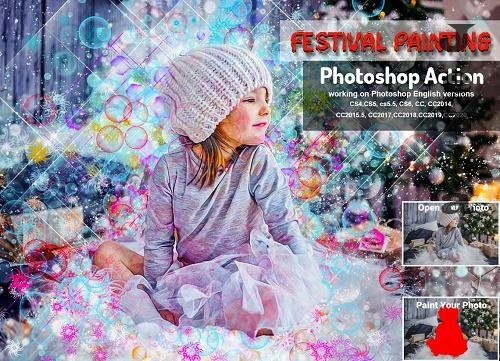 CreativeMarket - Festival Painting PHSP Action 5710845