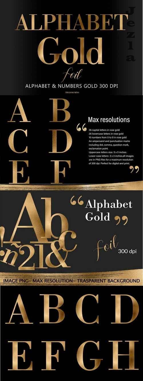 Alphabet, Gold letters, gold sublimation, gold foil - 1225809