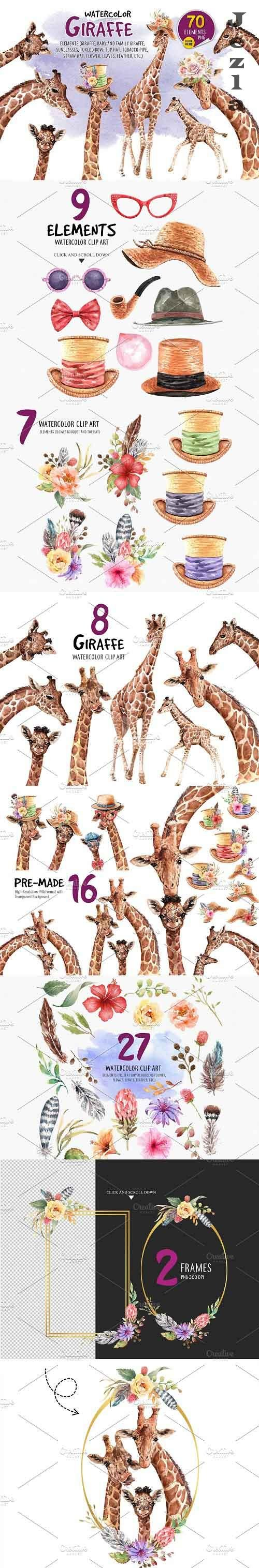 Giraffe watercolor, Paint clip art - 5154802