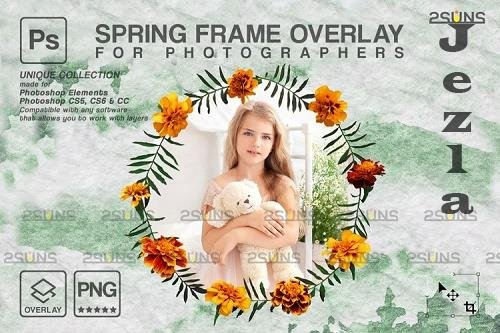 Spring flower digital frames overlay Easter - 1224316