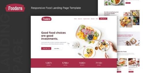 ThemeForest - Foodera v1.0 - Responsive Food Landing Page Template - 24565320