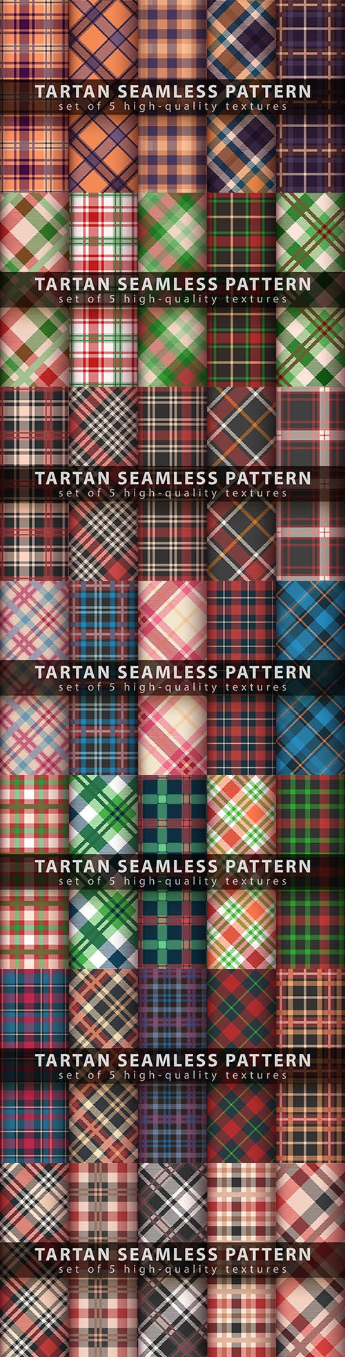 Classic tartan seamless pattern design set illustration