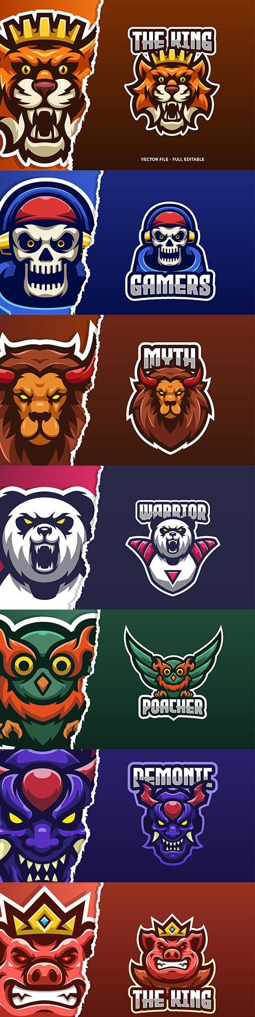 Logo template eSports and emblem mascot design 3