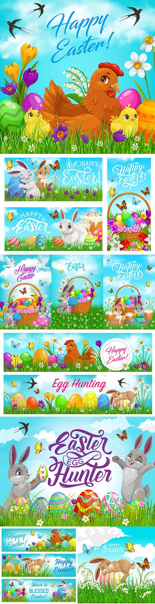 Happy Easter holiday basket for eggs and cartoon rabbits