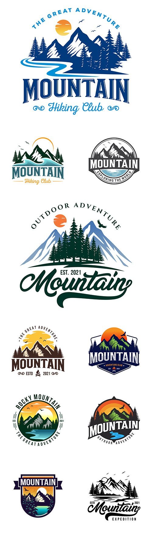 Mountain adventure brand name company logos design