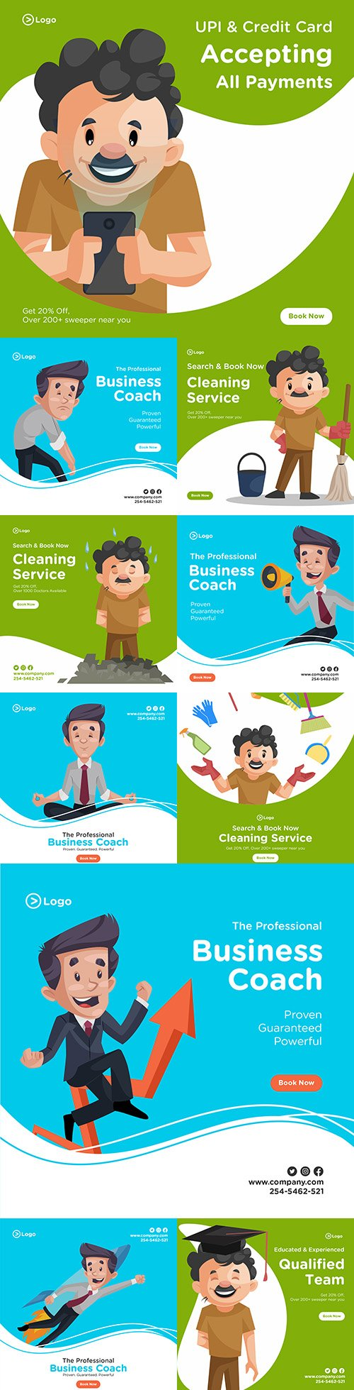 Cleaning banner design with cleaning equipment and businessman