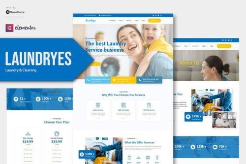 ThemeForest - Laundryes v1.0.1 - Laundry & Cleaning Elementor Template Kit - 30617179