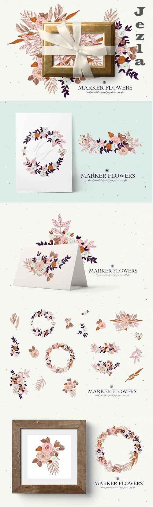 Marker Flowers - floral clipart - 5920393