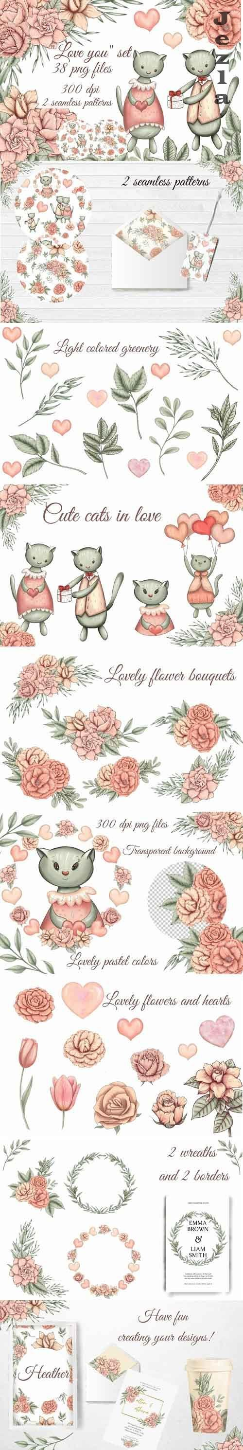 cute love cats clipart, pink flowers png, floral bouquets - 1182449