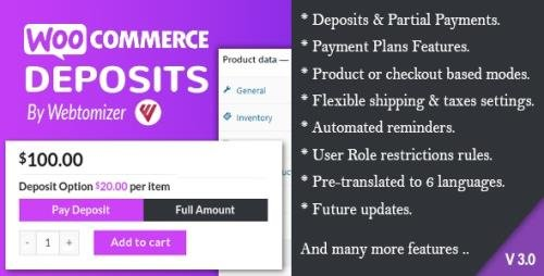 CodeCanyon - WooCommerce Deposits v3.0.13 - Partial Payments Plugin - 9249233