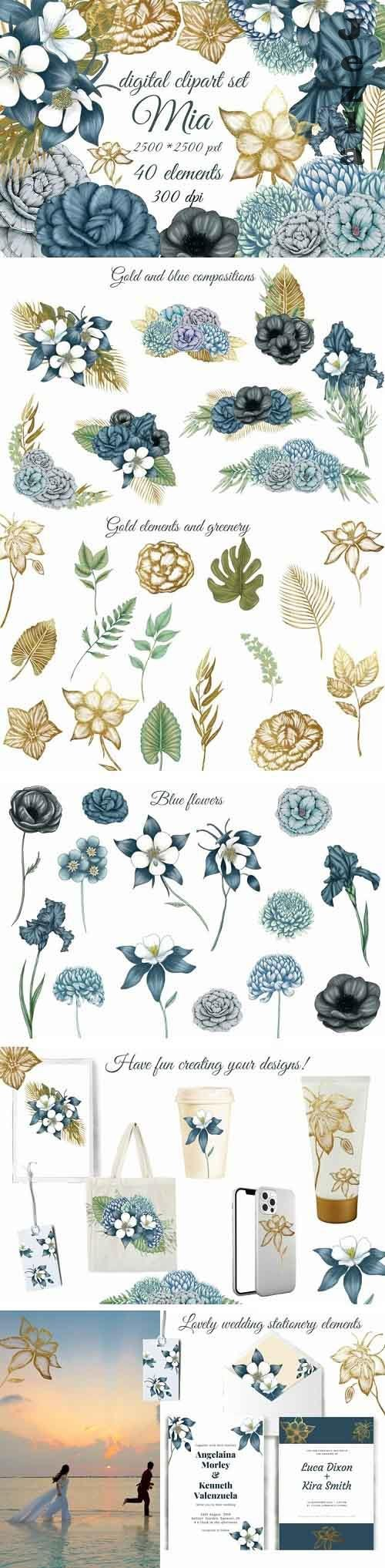 Blue flowers wedding flowers clipart, lovely bouquets png - 1226006