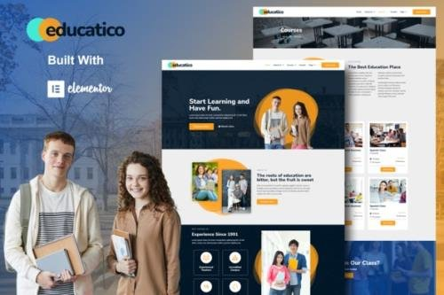 ThemeForest - Educatico v1.0.0 - Education School & Online Courses Elementor Template Kit - 30698155